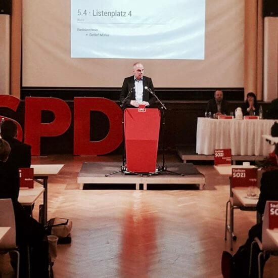 Bundestagswahl 2017: Detlef Müler spricht auf der Konferenz in Nossen.